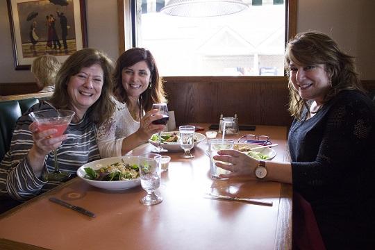 Kathy Santacroce, Toni Arnone, and Jill Weiss enjoy lunch at Braca Cafe during Girls Weekend