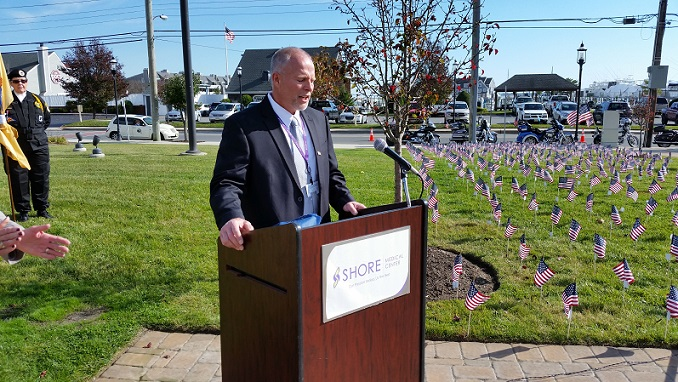 Fred Banner, an Air Force veteran and Shore's vice president of information and technology, spoke about the sacrifices members of the military have made.