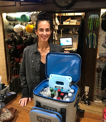 Jamie Keenan demonstrates some of the Yeti features using a customers packed cooler.